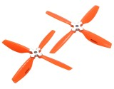 Microheli Plastic Folding 4-Blade Propeller 5045 CW/CCW w/Aluminum Bracket (ORANGE)