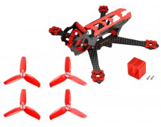 Microheli Carbon Fiber Frame (RED) with Props - EMAX Tinyhawk Freestyle 115mm