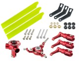 Microheli CNC Triple Yellow Plastic Blades Conversion set (RED) - BLADE FUSION 180